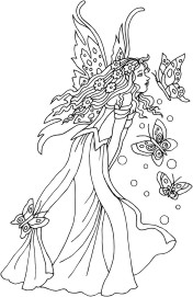 Faerie Queen with an entourage of butterfly attendants