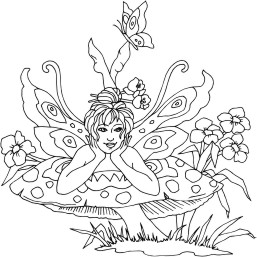 Fairy laying on a large mushroom