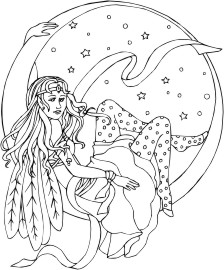 Fairy with indian inspired feathered wings laying on a crescent moon