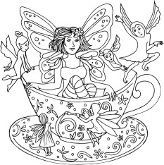 Faerie in a tea cup with small fairies flying around