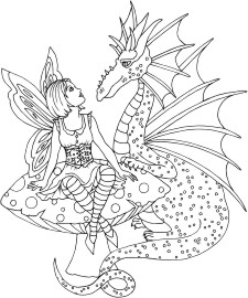 Dragon of Friendship - Friendly Dragon talking with a faerie on a mushroom