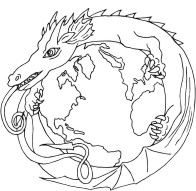 Earth Dragon - A Dragon encircling planet Earth