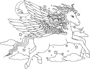 Leprechaun riding a winged horse (Pegasus)