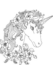 Unicorn adorned with flowers