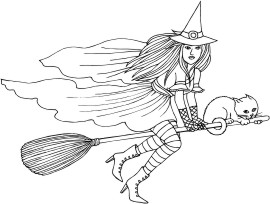 Witch and her cat riding on a broom
