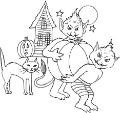 Pair of Goblins carrying a pumpkin, cat and spookhouse in the background