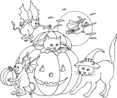 Cat popping out of a pumpkin, two goblins, witch in front of full moon