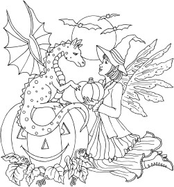 Dragon sitting on pumpkin and Fairy friend dressed in a witch costume for Halloween