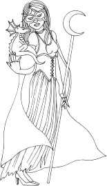 Sorceress masked for Halloween and holding a baby dragon and a crescent moon staff