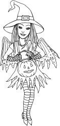 Bat winged fairy dressed as a Witchfor Halloween carrying a pumpkin bucket