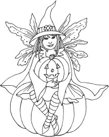 Cute fairy dressed as a Witch for Halloween, sitting on a large pumpkin