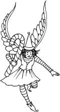 Angel carrying a large candycane