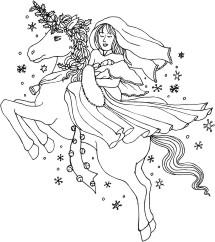 Winter unicorn with jingle bells carrying a mother and baby