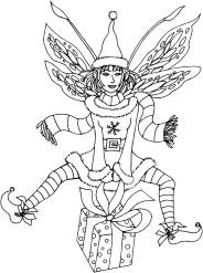 Fairy dressed for the holidays, leapfrogging over a gift box