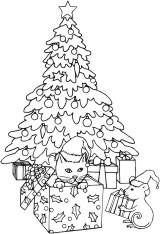 Kitten, mouse and gift under a Christmas Tree