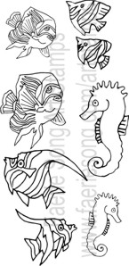 Set of six fish and two seahorses