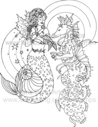 Mother Mermaid showing her Mermaid Baby to a Sea Dragon friend