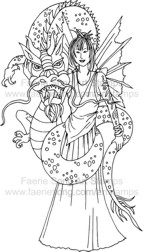 Oriental Fairy with large pet dragon wrapped around her