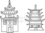 Two individual oriental pagoda stamps