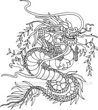 Ferocious Oriental Dragon with tree vines