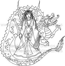 Oriental warrior process holding staff with dragon behind her
