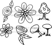 Set of 6 small floral and mushroom stamps