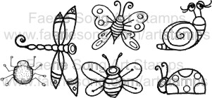 Set of 6 small stamps - Butterfly, dragonfly, bee, ladybug, snail, spider
