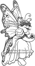 Mouse with large fairy wings and a flower garland in her hair