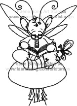 Boy Mouse Fairy sitting on mushroom reading book