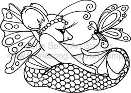 Seated Mermaid Mouse Fairy with Butterfly