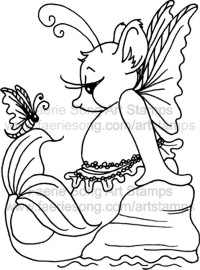 Mermaid Fairy mouse seated on a rock with butterfly friend both drying their wings