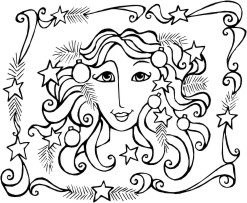 Goddess face with stars and pine branches in her hair, surrounded by a border of ribbons, stars and pine