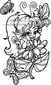 Fairy leaning on a large flower with three butterflies circling around
