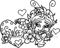 Pixie holding a large heart marked Sweets